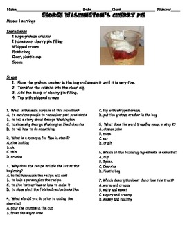 Comprehension Cafe Recipes and Reading Comprehension Questions
