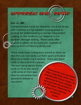 Comprehension Cards for Characters