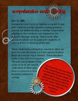 Comprehension Cards for Setting