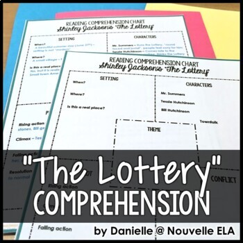 comprehension chart the lottery by shirley jackson by nouvelle ela. Black Bedroom Furniture Sets. Home Design Ideas