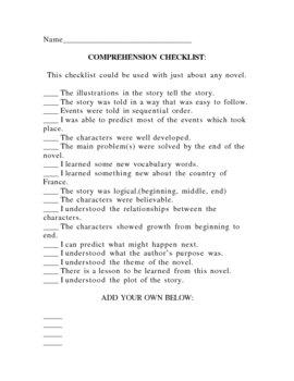 Comprehension Checklist