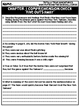 Comprehension Checks for Babe Ruth and the Baseball Curse