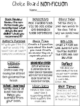 Comprehension Choice Board Fiction and Non-Fiction