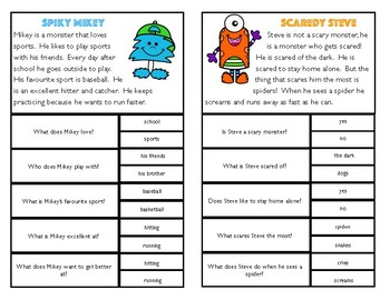 Comprehension Clip Cards: Monsters