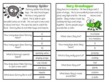 Comprehension Clip Cards: Spring Critters