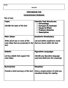 Comprehension Independent Reading Graphic Organizer Informational Text