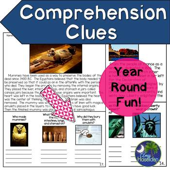 Comprehension Clues Using Pictures and Critical Thinking Questions
