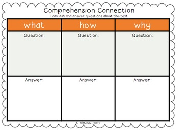 Comprehension Connection: Common Core 1.RI.1 & 1.RL.1
