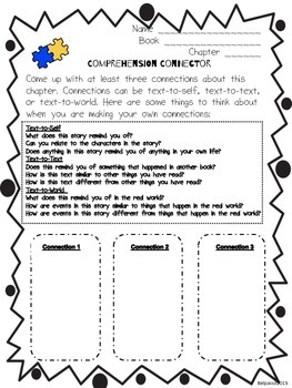 Literature Circle Response Form- Comprehension Connector