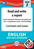 Comprehension – Continents and oceans – Year 2