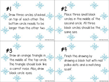 Comprehension Drawing Snowmen Task Cards