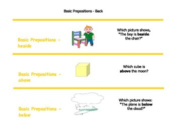 Comprehension Flash Cards for Basic Concepts