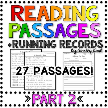 Comprehension & Fluency Passages - Beginning Readers + Running Records - PART 2