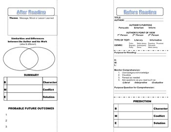 Comprehension Foldable for Literary Texts