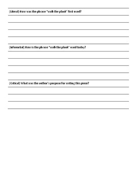 """Comprehension Formative Assessment for """"Walk the Plank!"""" by W. M. Akers"""