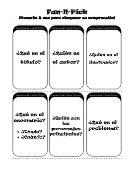 Comprehension Game: Fan 'n Pick in Spanish