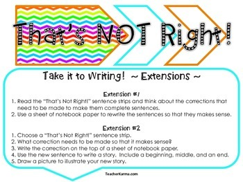 Comprehension Game, Reading, Language & Grammar Skills, Writing Extensions