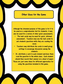 Comprehension Game for The Tale of Despereaux Tale of Despereaux