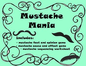 Comprehension Games - Mustache Theme - fact/opinion, cause