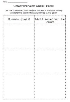 Comprehension Graphic Organizer: Retelling the Story - Illustration Chart