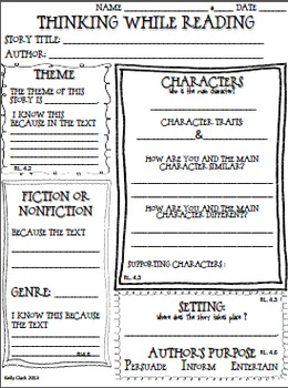 Comprehension Graphic Organizer for Upper Elementary {Aligned to CC ELA grade 4}