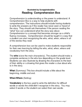Comprehension- I Understand What I Read