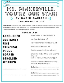 Comprehension Lesson for Lesson 1: Ms. Pinkerville You're Our Star!