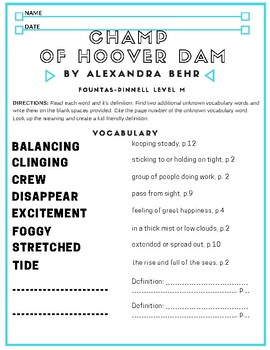 Comprehension Lesson for Lesson 4: Champ of Hoover Dam