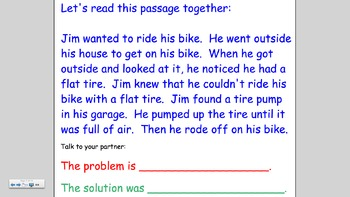 Comprehension Lesson on Problem and Solution Smartboard
