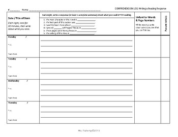 Comprehension Log - Beginning of the Year