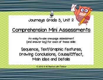 Comprehension Mini Assessments - Journeys Unit 2, 3rd Grade