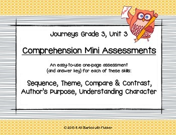 Comprehension Mini Assessments Journeys Unit 3, 3rd Grade