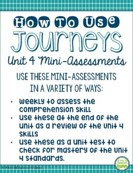 Journeys Unit 4 Third Grade Comprehension Mini Assessments
