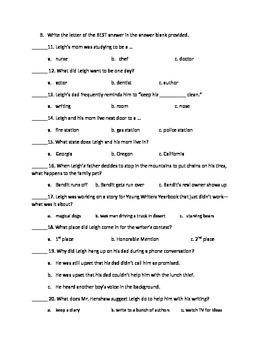 Comprehension Novel Test for Dear Mr. Henshaw