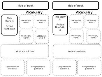 Comprehension Organizer for Reader's Notebook-EDITABLE