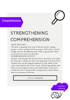 Comprehension Pack #4: Reading for meaning