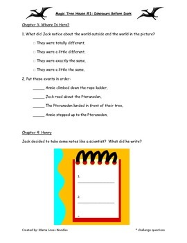 Comprehension Packet - Dinosaurs Before Dark (Magic Tree House)