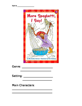 Comprehension Packet- More Spaghetti I Say