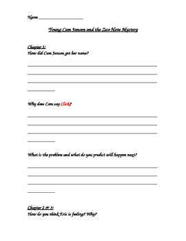 Comprehension Packet-  Young Cam Jansen and the Zoo Note Mystery