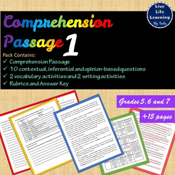 Reading Comprehension Passage - Fictional Text, Inferencing and Writing Activity