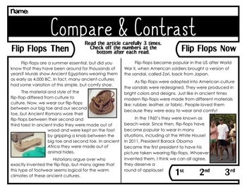 Comprehension Passage Compare and Contrast (Flip-flops Then & Now)