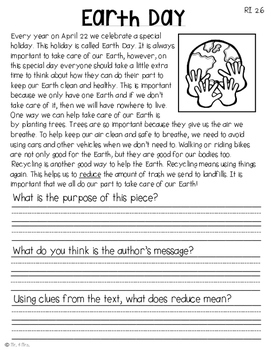 Comprehension Passages: April Journal Common Core Aligned (No Prep)