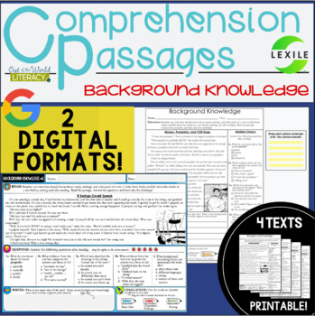 Comprehension Passages: Background Knowledge
