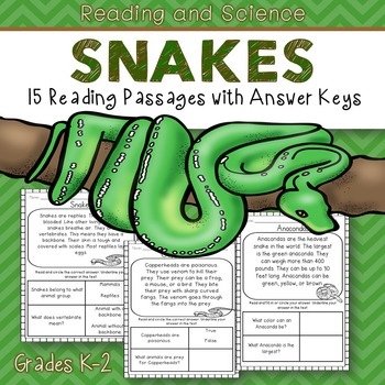 Reading Comprehension Passages (Snakes)