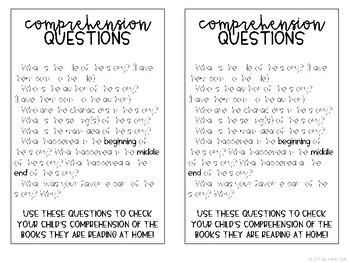 Comprehension Question Bookmark!