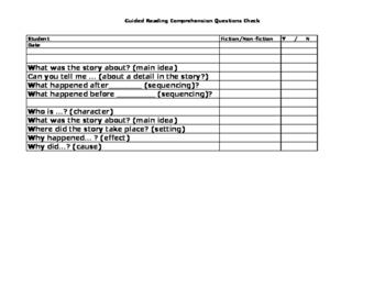 Comprehension Question Checklist
