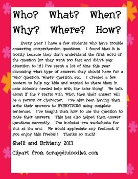 Comprehension Question Help (Freebie!)