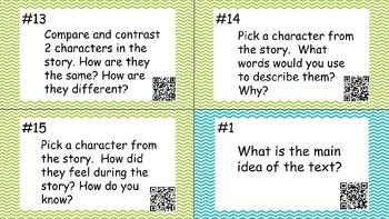 Comprehension Question Task/Discussion Cards with QR codes