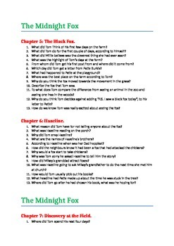 Betsy Byars Midnight Fox comprehension Questions