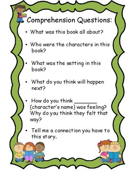 Comprehension Questions by Carter's Kindergarten | TpT